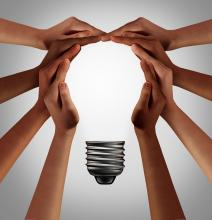 Cover Photo of Lightbulb Created by Hands